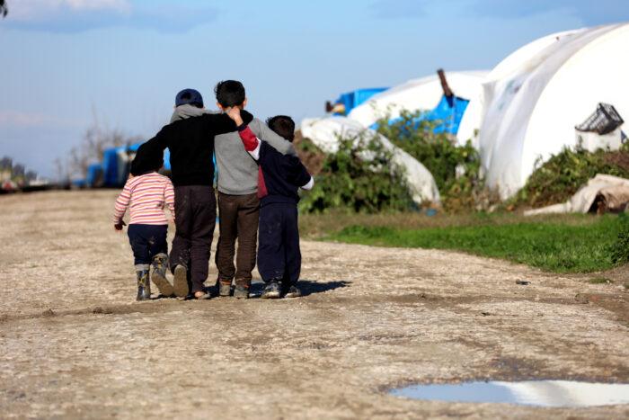 Syrian children in refugee camp