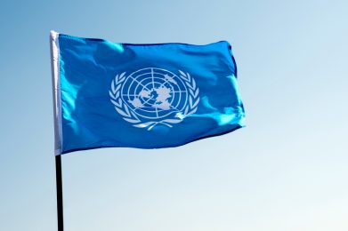 United Nations flag waving in the wind