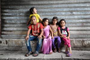 Syrian refugees living in an abandoned factory near Saida, Lebanon